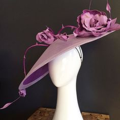 All the lilacs in windswept roses - this is a bespoke piece with two tone lilac brim adorned with quill thorny vines and handmade leather roses and buds #milliner #millinery #MyerFOTF #leatherflowers #headpiece