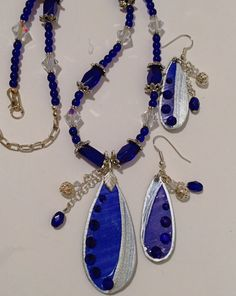 Cobalt and Silver Teardrops with Dangles by MartinArtandBeads