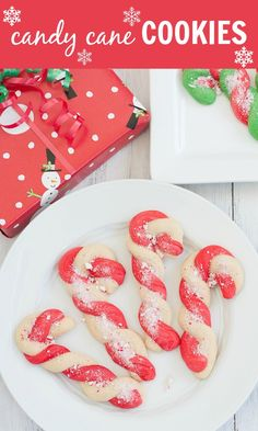 Candy Cane Cookies, so fun and festive for holiday parties! Or add them to your Christmas baking gifts! You can make these with peppermint or almond extracts, both are delicious!