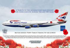British Airways Poppy Tribute Boeing 747