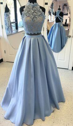 Two Piece Sky Blue Prom Dress, 2017 Two Piece Sky Blue Long Prom Dress,Long prom dress,Sleeveless dress