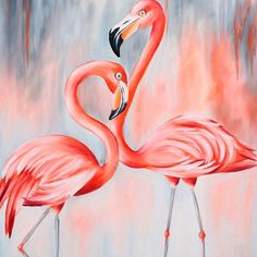 Beautiful couple of flamingo Millions of unique designs by independent artists Find your thing Gouache Painting, Acrylic Painting Canvas, Canvas Art, Acrylic Box, Canvas Paintings, Flamingo Painting, Flamingo Art, Flamingo Wallpaper, Pinturas Disney