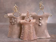 Goldie Bronze metal clay dresses inspired by Sue McNenly's class!