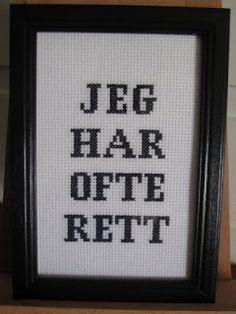 Bilderesultat for geriljabroderi Hardanger Embroidery, Cross Stitch Embroidery, Cross Stitch Patterns, Modern Cross Stitch, Textiles, Teaching Art, Cross Stitching, Cool Words, Art For Kids