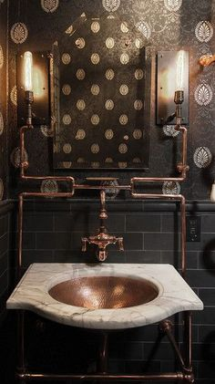 Wonderful eclectic bath with brass accents.
