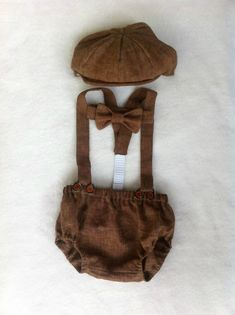 Baby Boy - Baby boy photo prop - Cake smash outfit boy - Boy Diaper Cover - Boys Suspenders - Bow tie - Baby Newsboy Hat  - newborn prop