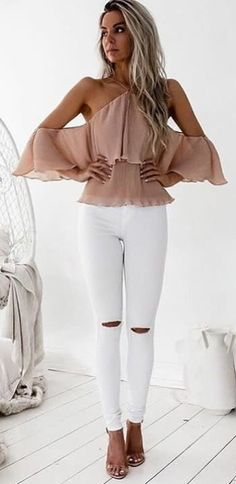 61ec60116ab0  fall  outfits women s beige halter-neck off-shoulder top and white fabric