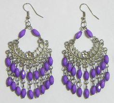 Jhalar Earrings with Amethyst Colored Bead Chandeliar (Beads and Metal))