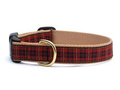 New Red Plaid Dog Collar by UpCountry