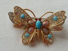 Beautiful multi stone set butterfly brooch by WhenIWasALad on Etsy