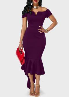Split Neck Peplum Hem Purple Bardot Dress | Rosewe.com - USD $33.08