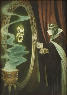 """Snow White and the Seven Dwarfs"" 1937 Disney illustration concept art by Gustaf Tenggren of the evil queen and magic mirror Art Disney, Film Disney, Disney Concept Art, Disney Kunst, Disney Artists, Snow White 1937, Snow White Art, Snow White Magic Mirror, Animation Disney"