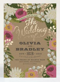 floral gold foil stationery from Minted | #floral #stationery #invitation #goldfoil