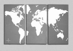 Triptych World Map Canvas Giclee designed by tronaHUE. Individual Panel Size: 12 x 24 (30.5cm x61cm) Total size: 24x 36 (61cm x 91.5cm) Shown in