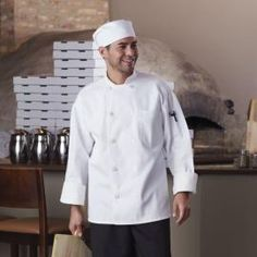 Classic Chef Coat, with Mesh by Uncommon Threads - Cool mesh backing with 2 pockets and finished cuffs/collar. 10 buttons with reversible closure, available in white or black. Sizes XS-6XL. http://www.chefscloset.com/catalog/classic-chef-coat-with-mesh-p-34641.html