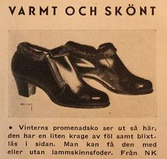 """""""Varmt och skönt"""" i vinterns promenadsko från NK. Reklam i Bonniers Månadstidning, 1943"""