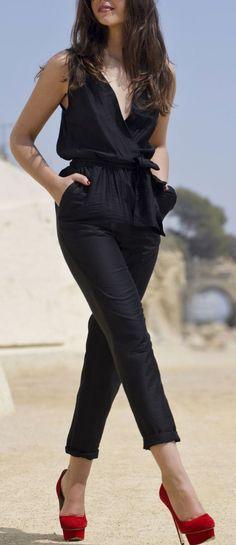 eed07044af5 Black Jumpsuit Red Platform Pumps Outfit Idea