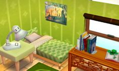 I absolutely adore the art on the wall next to the bed. All of this is very green and very pretty! The books on the desk parallel to the bed are a good touch. And the lamp, yet simple, looks great as well.