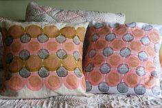 52 Weeks of Printmaking: Week 38 by Jen Hewett. Block printed pillows.