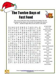 The Twelve Days of Fast Food Word Search