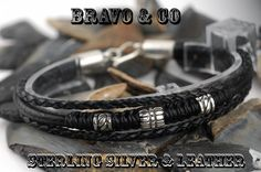 Finely Made Sterling Silver New Leather Wristband Bangle Men Bracelet.