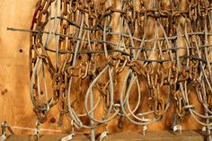 Waffle Weave, Puzzle Warp, 2009, by Britta Fluevog, chain, cable, wood, zip ties, hardware, handwoven