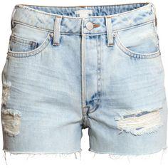 H&M Denim shorts ($6.44) ❤ liked on Polyvore featuring shorts, bottoms, pants, h&m, short, light denim blue, jean shorts, button fly shorts, h&m shorts and short shorts