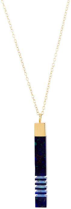 Lily Kamper Azurite Gold Column Necklace
