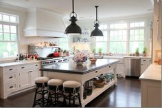 Cote de Texas: Huge kitchen design with beadboard backsplash, wood panel beadboard range hood, Wolf . New Kitchen, Kitchen Dining, Kitchen Island, Country Kitchen, Kitchen Ideas, Cosy Kitchen, Barn Kitchen, Space Kitchen, French Kitchen