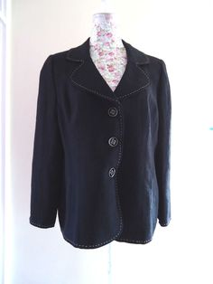 GOLD BY MICHAEL H BLACK FORMAL DRESSY EVENING BLAZER JACKET UK 18 BUTTON FRONT