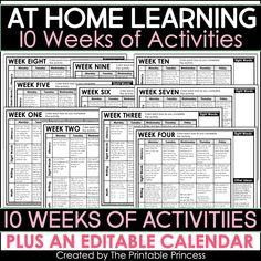 At Home Learning Activities 10 Weeks Preschool Learning Activities, Home Learning, Leadership Activities, Counting Activities, Group Activities, Educational Activities, Kindergarten First Week, Teaching Kindergarten, Learning Multiplication