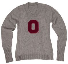 OSU Women's Gray V-Neck Sweater Available now at Buckeye Corner, Fanatics and online at collegetraditions.com.