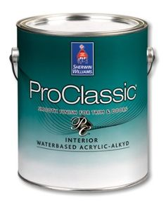 The best stuff for painting over vinyl, laminate or smooth surfaces.  Must prime first!  ProClassic® Interior Waterbased Acrylic-Alkyd Enamel
