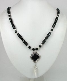 Native American Navajo Onyx sterling silver onyx necklace earrings set