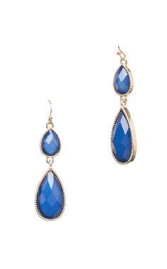 Blue Faceted Drop Earrings