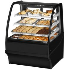"True TDM-DC-36-GE/GE 36"" Black Curved Glass Dry Bakery Display Case"