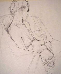 Craig Mullens, nursing mother pencil sketch