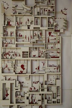 From the Shenzhen Bi-City Biennale of Urbanism and Architecture. Architecture drawing and model Architecture Origami, Architecture Drawings, Interior Architecture, Planer Layout, Architectural Section, Architectural Models, 3d Modelle, Arch Model, 3d Prints