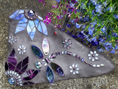 Dragonfly and clematis flower stepping stone for garden