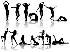 Dancer Silhouette Collection Royalty Free Stock Vector Art Illustration