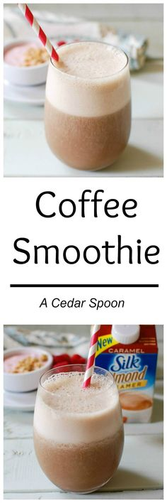 A Coffee Smoothie is a great way to start your day or provide you with that afternoon boost you might need. Coffee, Silk Caramel Creamer, ice, vanilla and a frozen banana are blended together to create a delicious pick-me-up.// A Cedar Spoon