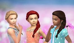 The Sims 4 | My Stuff: GP02 Spa Day French Braid Over Shoulder Hairstyle Converted for Girls | hairs for female child