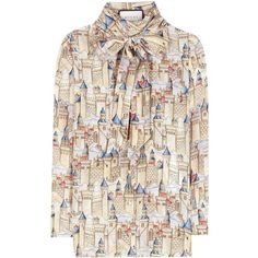 Gucci Printed Silk Blouse (35 930 UAH) ❤ liked on Polyvore featuring tops, blouses, gucci, beige, beige silk top, multi color tops, pink silk blouse, beige top and gucci blouse