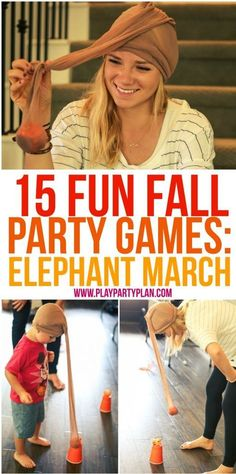 15 fun fall party games that are perfect for every age for kids for adults for teens or even for kindergarten age kids Tons of great minute to win it style games you cou. Fall Party Games, Fall Games, Home Party Games, Fun Teen Party Games, Harvest Party Games, Kids Party Games Indoor, One Minute Party Games, Party Games Group, Fall Harvest Party