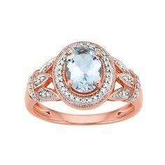 We love this Aquamarine Ring - Birthstone for March  #rosegold #aquamarine #ring