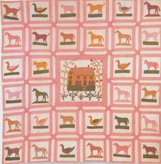Pictorial Animal Quilt, 1865-1875. New York. Very unique...I've never seen anything like this.