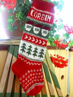 Hand knit Christmas Stocking with seasonal by KnittingsWithSense, $54.00