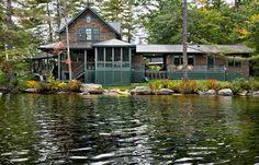 Lakefront New England home wraparound porch