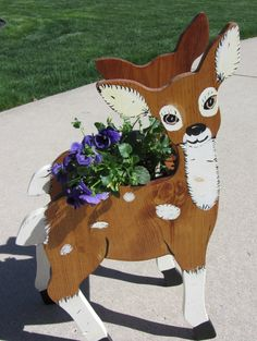 Handpainted Deer Planter WOOD Bambi Two-sided Handmade Crafted