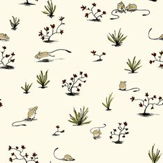 Long-tailed Hopping Mouse in Cream fabric by meduzy on Spoonflower - custom fabric
